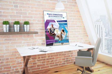 Affiche publicitaire pour formations Hypnose et PNL