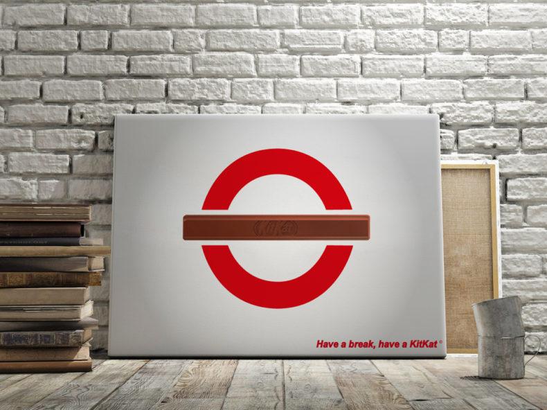 Affiche publicitaire KitKat : thème : Grève du métro anglais